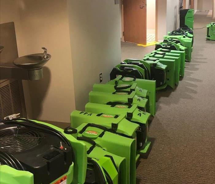 Photo of SERVPRO equipment lined up for a new job